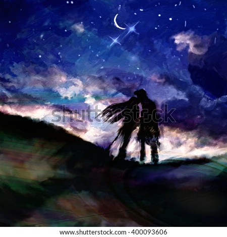 abstract watercolor oil painting of couple standing holding hands against the alien sky,illustration painting