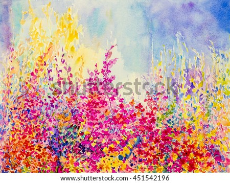 Abstract  watercolor original landscape painting  imagination colorful of beauty flowers and emotion in blue background. - stock photo