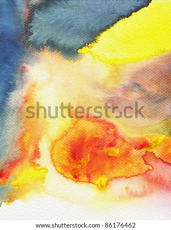 Abstract watercolor paint  wet on wet paper style - stock photo