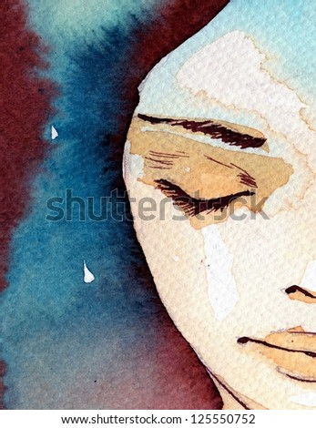 Abstract watercolor painted portrait of a girl