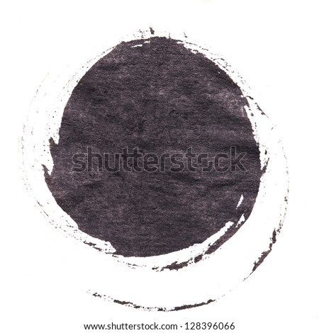 Abstract watercolor painted round dot background. - stock photo