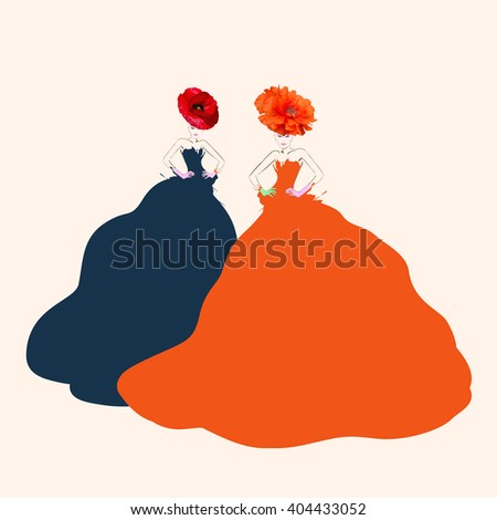 Abstract watercolor portrait of  young women (model) with red hats (poppies), creative make-up, blue and red dresses, beauty, logo fashion,  trendy stylish texture ,Fashion Week.  - stock photo