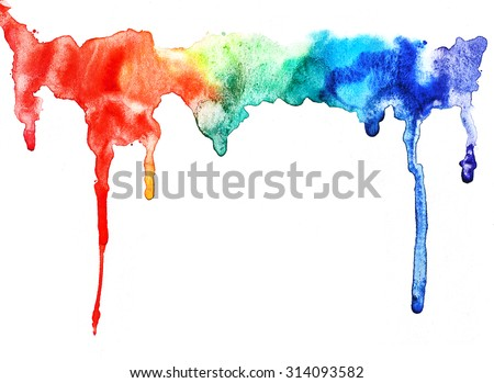 Abstract watercolor rainbow gradient stain. Watercolor drips isolated on white background. Elements for create arts.  - stock photo
