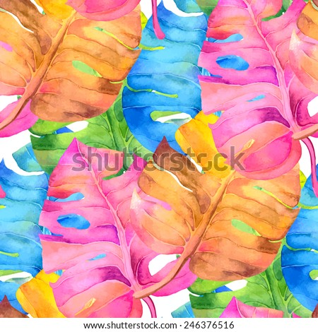 Abstract watercolor seamless background. Blue, cyan, magenta and pink background. Can be used for web pages, identity style, printing, textile, cards, etc. - stock photo