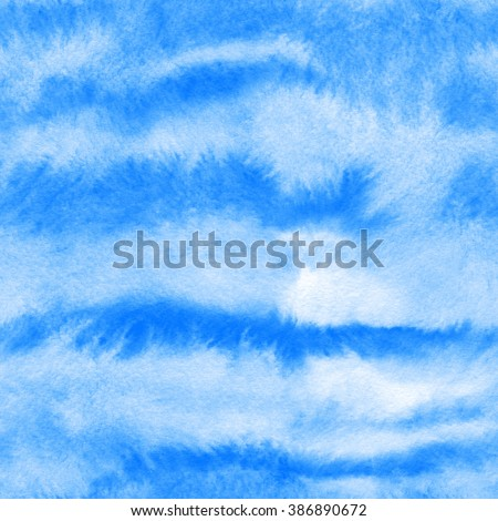 Abstract watercolor seamless pattern in blue colors - Fur - stock photo