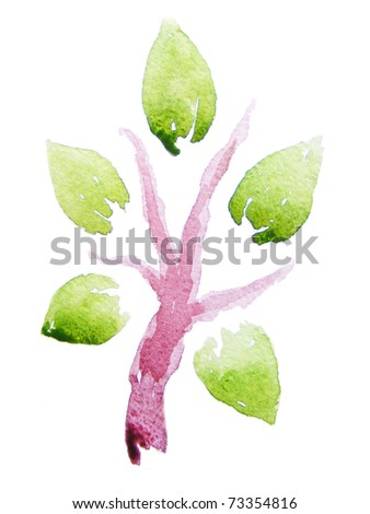 Abstract watercolor tree. - stock photo