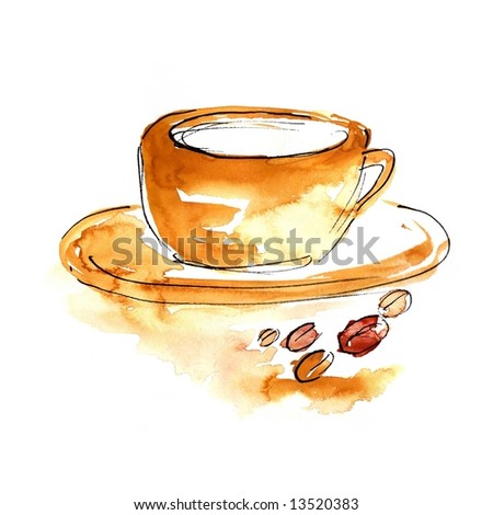 Abstract watercolour illustration: Cup of Coffee or cappuchino with coffee beans. Art is painted and created by photographer. - stock photo