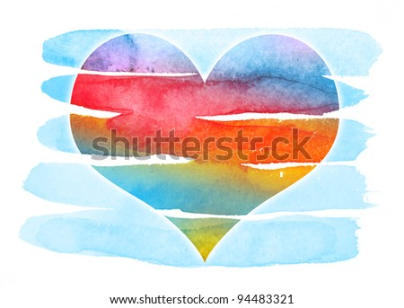 abstract watrcolor heart - stock photo