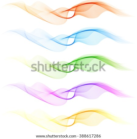 Abstract Wave blue, green, pink and yellow color - stock photo