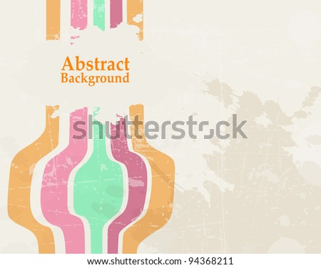Abstract Wave Color Retro Grunge Background - vector illustration.
