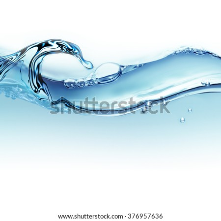 abstract wave of water with air bubbles as background - stock photo