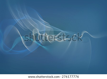 abstract waves and smooth transparent curves in white and blue tones with partially added blur filter