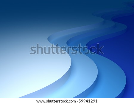 Abstract waves 3D background - stock photo