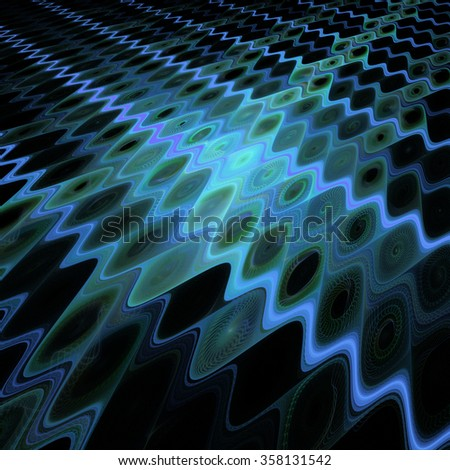 Abstract waves on black background. Computer-generated fractal in blue and dark green colors. - stock photo