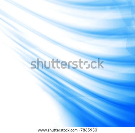 abstract waves, overflowing the tints of blue color on a white background - stock photo