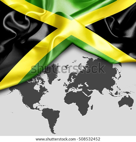Abstract waving Jamaica flag over world map