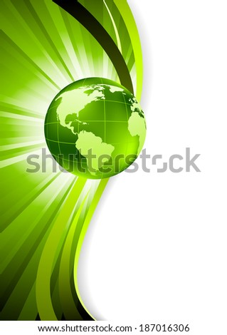 Abstract wavy background with globe, raster copy