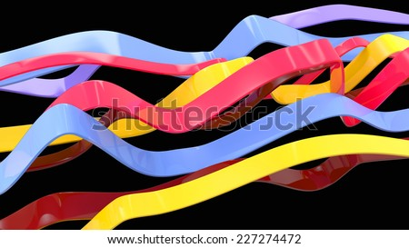 abstract wavy shapes made of glossy plastic in different colors - stock photo