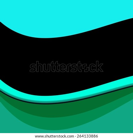 Abstract wavy turquoise blue green background with black ribbon - stock photo