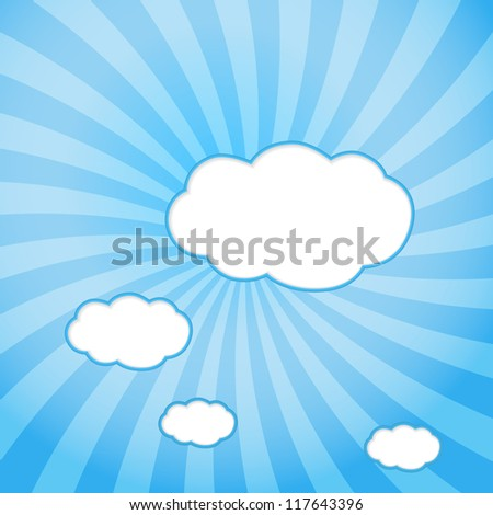 Abstract web design background with clouds with sun rays. (Raster version) - stock photo