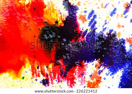 Abstract wet and fresh water colors on white handmaid drawing paper - stock photo