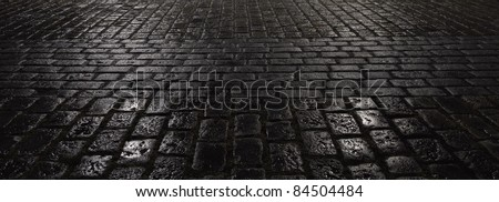 Abstract Wet Night City Pavement Reflections - stock photo