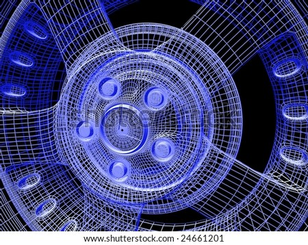 abstract wheel on black background - stock photo