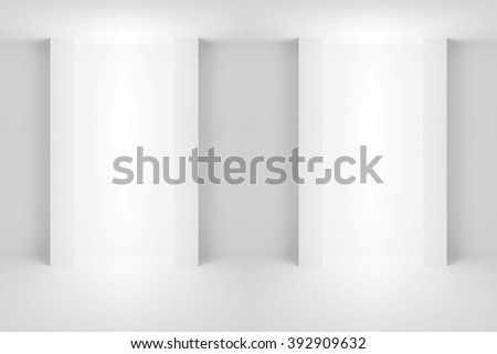 Abstract white architecture background. Empty interior with light niches. 3d illustration - stock photo