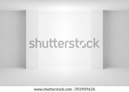 Abstract white architecture background. Empty room interior with light niche. 3d illustration - stock photo