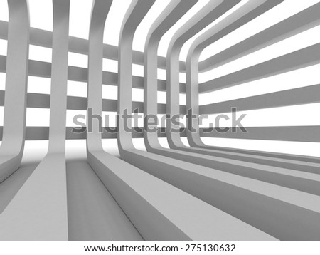 Abstract White Architecture Design Futuristic Background. 3d Render Illustration - stock photo