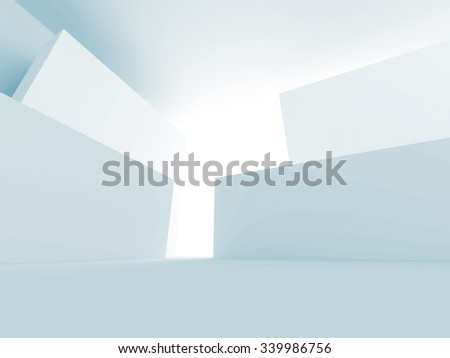 Abstract White Architecture Futuristic Background. 3d Render Illustration - stock photo