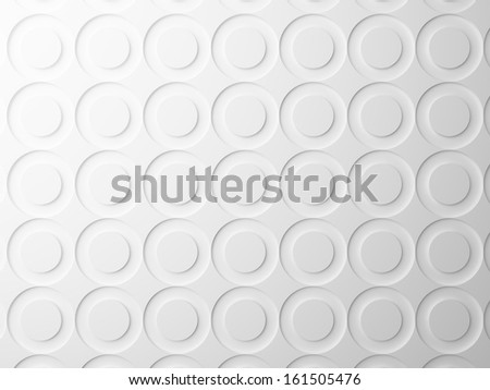 Abstract white background texture with round circles pattern. 3d render illustration - stock photo