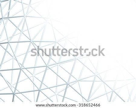 Abstract white background with 3d lattice - stock photo