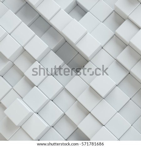 Abstract white blocks. Template background for your design. 3d illustration