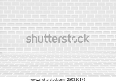 Abstract white brick wall and floor background