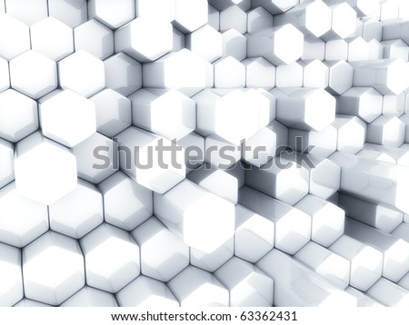 Abstract white business background with different hexagons - stock photo