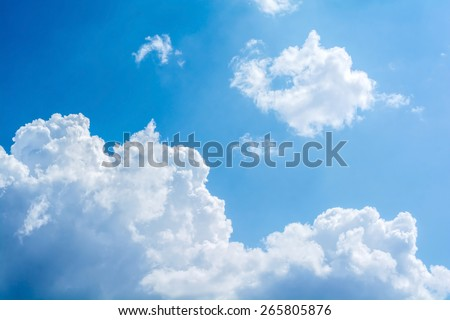 abstract white cloud with sunlight on the blue sky - stock photo