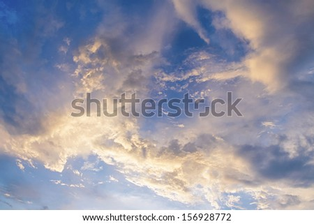 Abstract white clouds on the blue summer sky. - stock photo