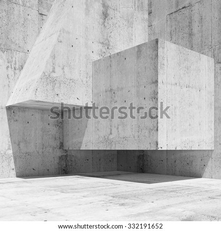 Abstract white concrete interior fragment with simple geometric shapes in a corner, 3d illustration background - stock photo