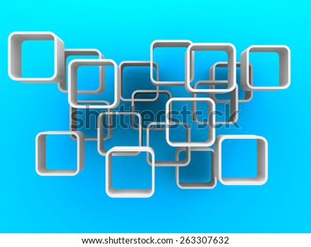 Abstract White Cubes Flow On Blue Background. 3d Render Illustration - stock photo