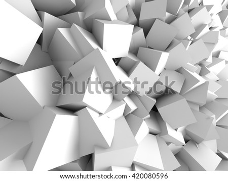 Abstract White Cubes Wall Background. 3d Render Illustration