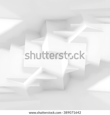 Abstract white digital background with chaotic cubic structures, square composed 3d illustration - stock photo