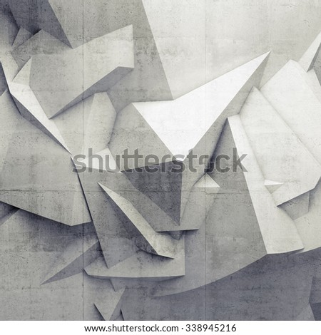 Abstract white digital 3d chaotic polygonal surface with concrete texture, square background - stock photo