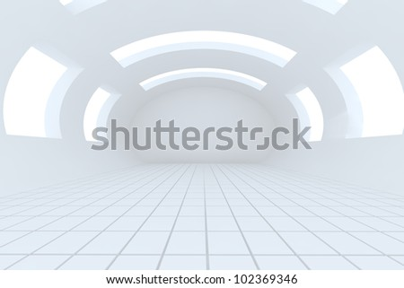 Abstract white empty room with structure curve - stock photo