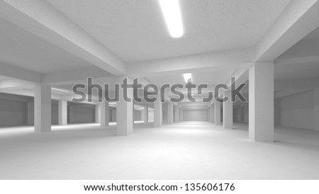 Abstract white empty underground parking interior - stock photo