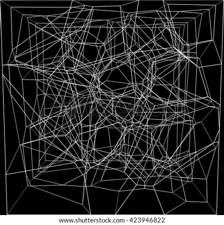 abstract white fractal geometry on black  background