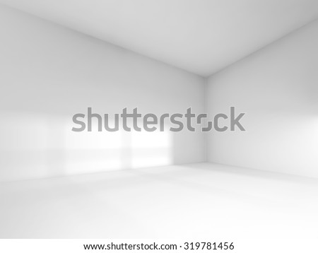 Abstract white interior, empty room with soft light illumination. 3d render illustration - stock photo