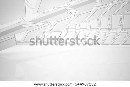 Abstract white interior highlights future. Polygon black drawing. Architectural background. 3D illustration and rendering