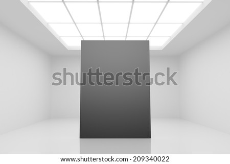 abstract white interior with black poster - stock photo