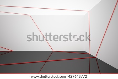 Abstract white interior with red glossy lines. 3D illustration. 3D rendering